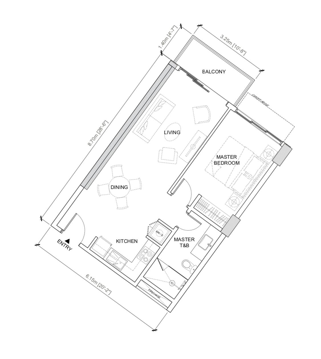 32 Sanson   1br floor plan